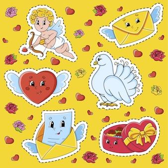 Set di adesivi con simpatici personaggi dei cartoni animati. san valentino.