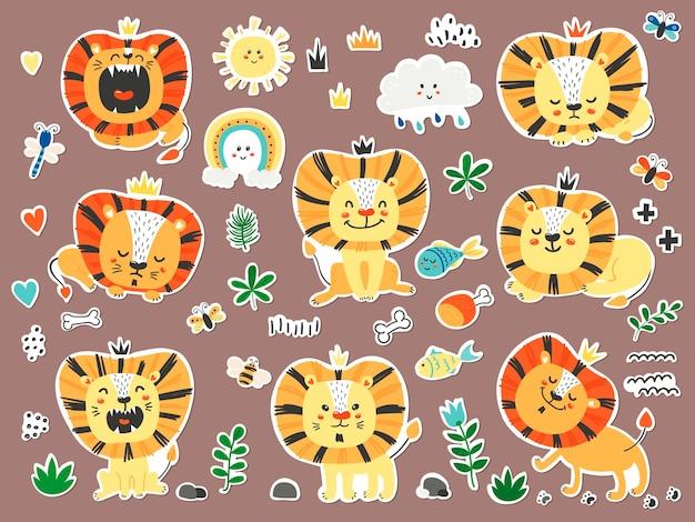 Set di adesivi con simpatici leoni.