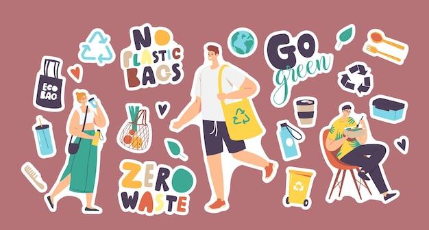 Set di adesivi zero rifiuti, niente sacchetti di plastica. persone, cestino per rifiuti, utensili in bambù o legno, borsa ecologica e globo terrestre con bottiglia d'acqua riutilizzabile, tipografia go green. fumetto illustrazione vettoriale