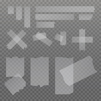 Set di pezzi di nastro adesivo colla adesiva isolati su sfondo trasparente. strisce adesive. cancelleria
