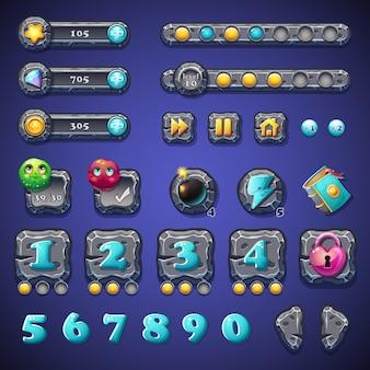 Impostare pulsanti di pietra, barre di avanzamento, oggetti barre per il web design e l'interfaccia utente dei giochi per computer