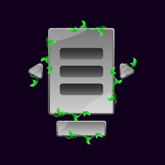 Set di schede utente di gioco con foglie di pietra pop-up per elementi di asset gui