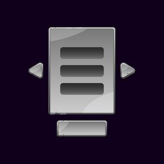 Set di bacheca dell'interfaccia utente di gioco rock in pietra pop-up per elementi di asset gui