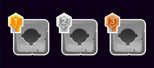 Set di avatar con cornice in pietra con grado per elementi di asset gui