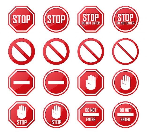 Set di stop, no enter, icone proibite