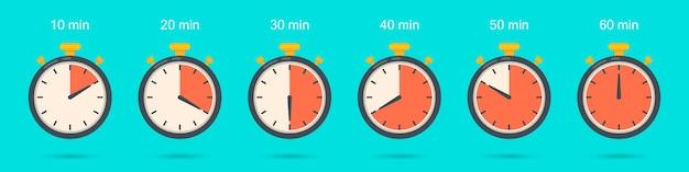 Set di icone del cronometro in un design piatto