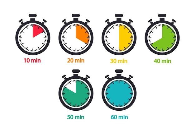 Un set di cronometro con tempi diversi, conto alla rovescia in minuti. timer. icone vettoriali.
