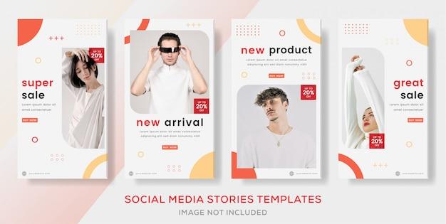 Set storie banner geomatric per la vendita di moda.
