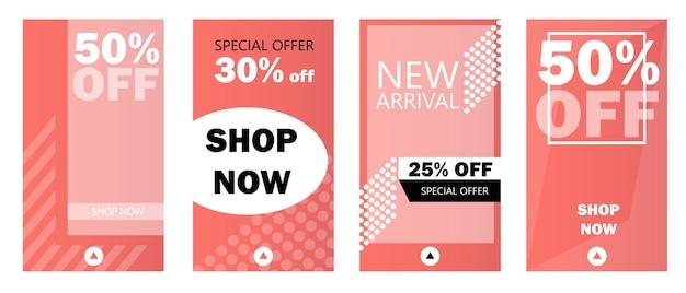 Set di storie vendita banner sfondo, foto modello. può essere utilizzato per sito web, app mobile, volantino, coupon, carta regalo, web design