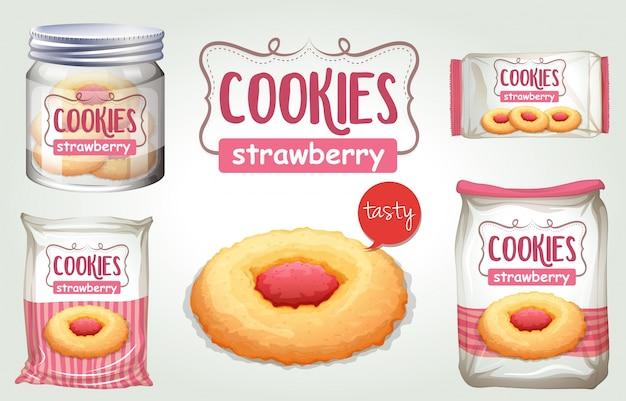 Set di biscotti di fragole in pacchetti diversi