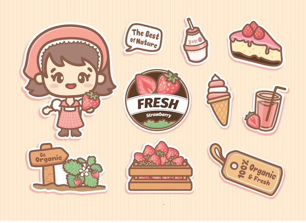 Set di adesivi di elementi di fattoria di fragole con ragazza carina, logo e prodotti di fragola rosa. stile kawaii