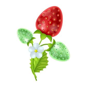 Set di frutta fragola con fiori e foglie verdi isolati su bianco