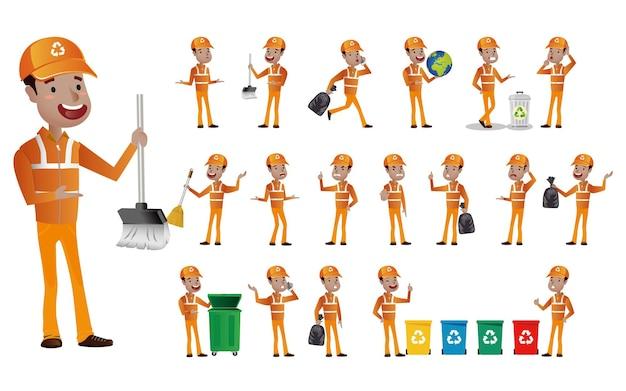 Set di spazzino con diverse pose