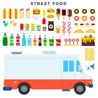 Set di cibo di strada in uno stile piatto