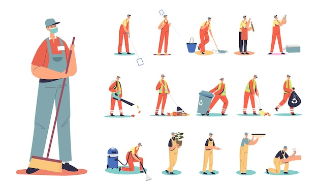 Set di uomo di cartone animato bidello di strada in uniforme che tiene scoop diverse situazioni e pose di stile di vita: pulitore all'aperto che lavora spazzando, raccogliendo spazzatura e foglie. illustrazione vettoriale piatta