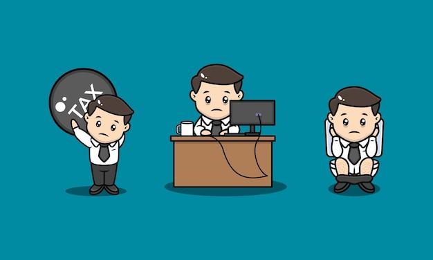 Set di illustrazione di design mascotte uomo d'affari stressato