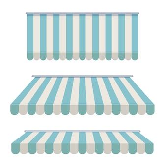 Una serie di tende a strisce