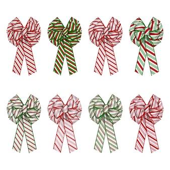 Set di fiocchi a strisce per fiocchi di decorazioni di ghirlande natalizie con struttura di bastoncini di zucchero