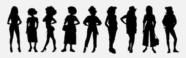 Set di sagome di studenti. collezione di giovani donne alla moda vestite con abiti alla moda.