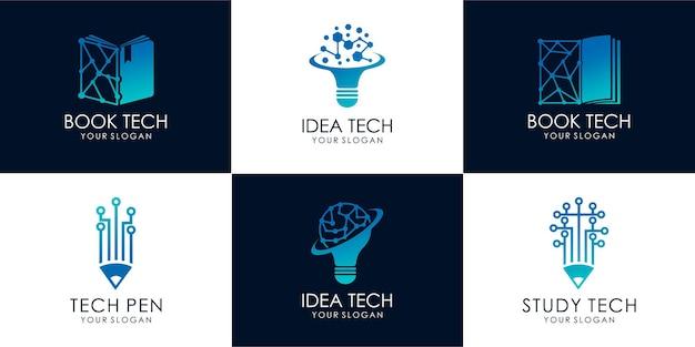 Set di tecnologia di studio, tecnologia delle idee, tecnologia dei libri. disegno dell'illustrazione delle immagini del logo vettore premium