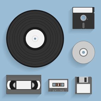 Set di icone di stile di supporti di dati vintage