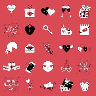 Set di icone isolate alla moda in rosso bianco nero per le relazioni d'amore interrazziali di san valentino tr...