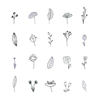 Insieme delle piante stilizzate di scarabocchio. illustrazione vettoriale, disegnata a mano