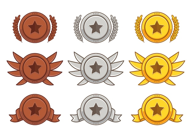 Set di sub-badge oro argento bronzo in tinta unita
