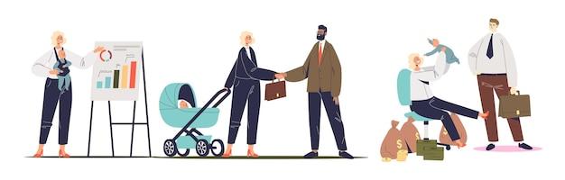 Set di imprenditrici di successo con bambini piccoli al lavoro: in riunione, durante la presentazione e sul posto di lavoro. donne felici di affari che lavorano con il neonato. illustrazione vettoriale piatta