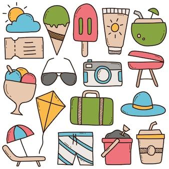 Insieme degli elementi di doodle di estate