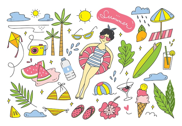 Set di doodle estivo su elemento di disegno vettoriale bianco