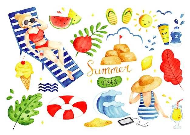 Set di estate scarabocchi illustrazione ad acquerello