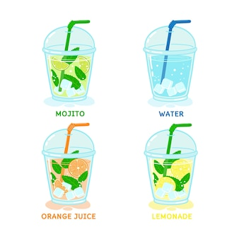 Set di bevande estive acqua mojito succo d'arancia limonata