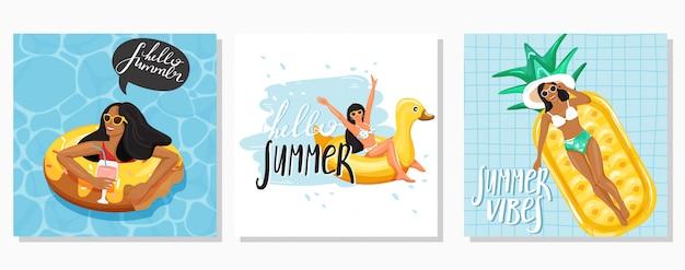 Set di biglietti d'auguri estivi Vettore Premium