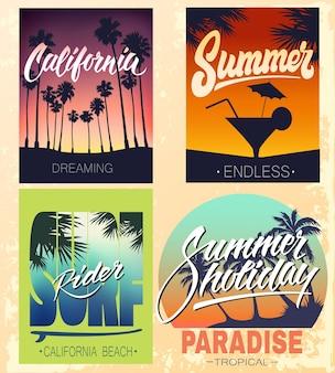 Set di stampe estive con lettere a mano per magliette di abbigliamento e altri usi