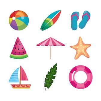 Insieme di elementi di vacanze estive, raccolta clipart
