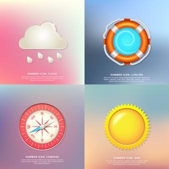 Insieme delle icone di estate - cavo di sicurezza, sole, nuvole e pioggia, bussola, collezione colorata di badge di vacanze estive, vacanze e viaggi.