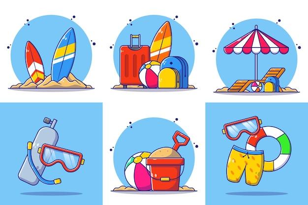 Set di tenda da spiaggia illustrazione estiva
