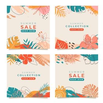 Set di modello di post instagram estivocontenuto promozionalecopertina di social media astratta colorata