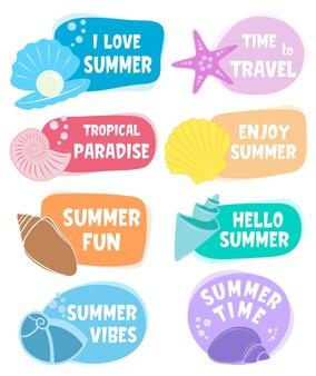 Set di etichette estive.