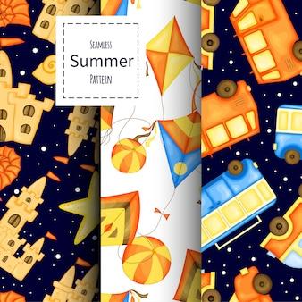 Set di modelli estivi. stile cartone animato. illustrazione vettoriale.
