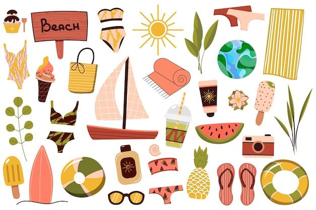 Un set di cose estive per la spiaggia. viaggio in un paese soleggiato. riposo estivo. illustrazione vettoriale.