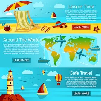 Set di banner di viaggio e tempo libero estivi. vettore.