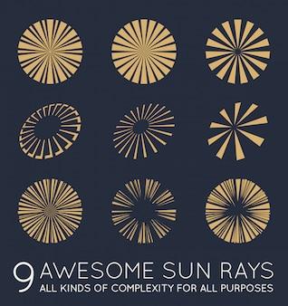 Set di raggi del sole vettoriale di sunburst
