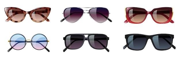 Set di occhiali da sole, diversi occhiali alla moda per la protezione dal sole. occhiali dal design moderno e hipster con lenti protettive colorate. illustrazione vettoriale 3d