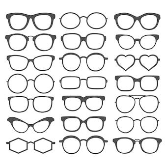 Set di occhiali da sole isolati su sfondo bianco. icona di occhiali da sole. collezione di occhiali da sole