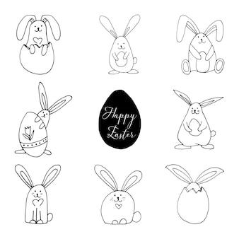 Set di conigli super carini e adorabili con uova per il design pasquale. divertente illustrazione disegnata a mano in stile scarabocchio per poster, striscioni, stampe, decorazioni per la stanza dei giochi dei bambini o biglietti di auguri.