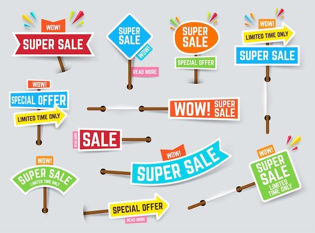 Set di banner e sconti super vendita
