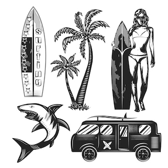 Set di elementi surf isolati su bianco.