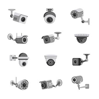 Set di telecamere di sicurezza di sorveglianza isolato su bianco
